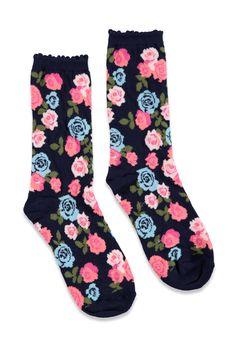 Rose-Patterned Crew Socks | Forever 21 - 2000078155
