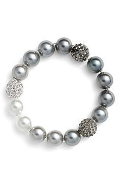Anne Klein Faux Pearl Stretch Bracelet available at #Nordstrom