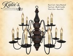 2-Tier 12-Arm Charleston Wooden Chandelier by Katie's Lighthouse in 10 Color Choices