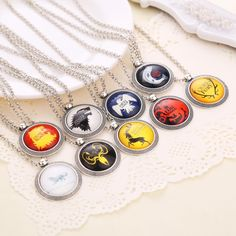 Игра престолов герб семейный гребень Lannister Targaryen старк баратеонов аррен грейджой геральдический ожерелье ожерелье купить на AliExpress