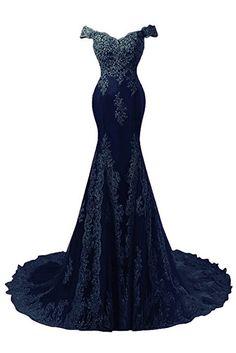 Amazon.com: Himoda Women's V Neckline Beaded Evening Gowns Mermaid Lace Prom Dresses Long H074: Clothing