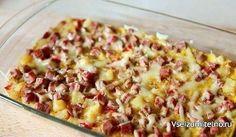 Фриттата по-испански  Ингредиенты:  Картофель — 3 шт. Репчатый лук — 1 шт. Болгарский перец красный — 1 шт. Яйцо — 4 шт. Ветчина — 100 г Сыр — 30 г Соль, перец — по вкусу  Приготовление:  1. Нарезать кольцами лук. Обжарить на растительном масле. 2. Нарезать кубиками перец, добавить к луку и тушить 5 мин. 3. Картофель отварить, очистить и нарезать кубиками. 4. Ветчину нарезать кубиками. 5. К перцу и луку добавить картофель и жарить до золотистой корочки. Посолить, поперчить. 6. Взбить яйца…