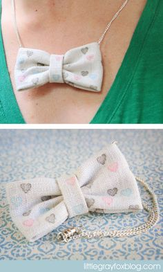 Diy Little Gray Fox: Stamped Bow Necklace Tutorial. Fun For Kids!