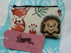 Handmade Coin Purse Makeup Bag Pouch Fox Hedgehog Tapestry Woodland Animals in Clothes, Shoes & Accessories, Women's Accessories, Purses & Wallets | eBay