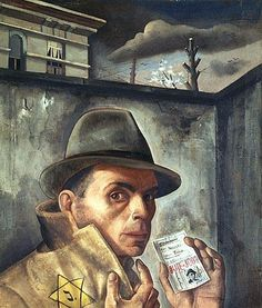 """German-Jewish Surrealist painter, Felix Nussbaum was born at Hanover. His father was a WW1 German war veteran. During Occupation, Nussbaum was interned in France, but escaped and went into hiding along with his wife in Brussels. In July, 1944, the couple were murdered at Auschwitz-Birkenau on or about Aug. 2nd. Nussbaums father and mother, a brother, sister-in-law and niece would be killed at Auschwitz. His other brother died at the Stutthof camp in Danzig. The family was thus…"