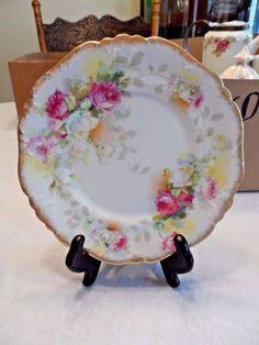"7 1/2""Vintage Pink & White Roses w/Gold Dish -A.Lanternier - Limoges - France"