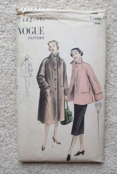 Vogue 7442 Coat 1951 6.16+3.75 3bds 6/2/14