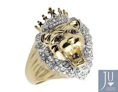 10K Yellow Gold 3D Roaring Lion Head King Crown Diamond Statement Ring 0.50CT #JewelryUnlimited