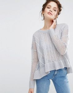 e75d65645e25bc Willow and Paige Relaxed Longline Cable Knit Sweater With Ripple Hem at  asos.com