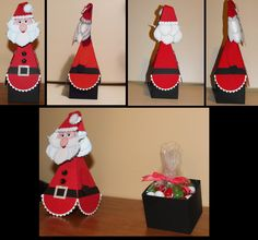 Stampin Up Santa treat holder. I used the ornament punch for the face, the bird builder for the whiskers, the blossom petals builder for the hair and beard, the boho blossom for the pompom, the itty bitty shapes punch pack for the trim on the hat, the owl builder for the eyes, nose and mouth, the large oval for the arms and the Petal Cone Bigz L Die for the body. I entered this for our December club project and won.