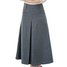 Womens Fall Winter Long Wool Woolen Warm Aline Pleated Expansion I Love Skirts Skirt ** Check out this great product.