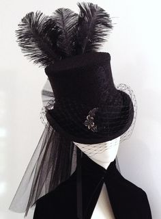 Lady Lucia Victorian Goth Black Riding Hat - Hats & Caps | RebelsMarket