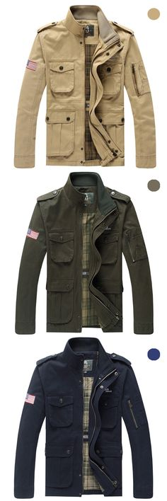 US$69.99 + Free Shipping. Mens Casual Outdoor Multi Pockets Epaulets Decoration Stand Collar Cotton Jackets. Color: Khaki, Olive, Navy. Material: Cotton. >>> To View Further, Visit Now. #jacket
