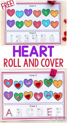 Heart roll and cover mats will make learning math and literacy skills fun and effective this Valentine's Day. They are great for winter math and literacy centers in preschool, kindergarten, and first grade. Teach letter sounds and letter formation or number sense and number formation in a way that kids love! #valentinesday #hearts #kindergarten #preschool