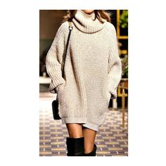 Rotita Beige Oversized Turtleneck Sweater Dress (€22) ❤ liked on Polyvore featuring dresses, outfit, apricot, long-sleeve maxi dress, pink sweater dress, pink dress, turtleneck sweater dress and mini dress