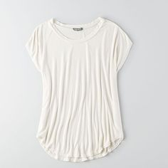 American Eagle Outfitters Don't Ask Why Dolman T-Shirt ($35) ❤ liked on Polyvore featuring tops, t-shirts, white, scoop neck tee, curved hem t shirt, white scoop neck t shirt, short sleeve tops and scoopneck tee