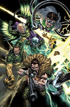 Sinister Six - by Jonathan Lau & Omi Remalante - Universo Marvel Hq Marvel, Marvel Dc Comics, Marvel Heroes, Comic Villains, Marvel Characters, Amazing Spiderman, Spiderman Pics, Comic Books Art, Comic Art