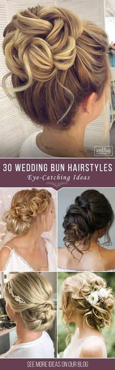 30 Eye-Catching Wedding Bun Hairstyles ❤ Bun hairstyles are the most popular wedding hairdos. They are good for different hair length. Get inspired with our collection of wedding bun hairstyles. See more: http://www.weddingforward.com/wedding-bun-hairstyles/