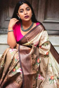 Soft Silk Sarees - buy the best quality of soft silk sarees and latsest wedding sarees online from the india's best shopping store for women sarees. Tussar Silk Saree, Soft Silk Sarees, Banaras Sarees, Floral Print Sarees, Printed Sarees, Wedding Sarees Online, Saree Wedding, Wedding Wear, Multicolor Wedding