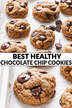 These healthy chocolate chip cookies are thick, chewy, and contain no butter! Made with applesauce, whole grains, and dark chocolate chips, this easy, healthy cookie recipe is low sugar, low calorie, and perfect for those sweet dessert cravings! Healthy Cookie Recipes, Healthy Sweet Treats, Healthy Cookies, Baking Recipes, Dessert Recipes, Healthy Deserts, Healthier Desserts, Healthy Baking, Healthy Food
