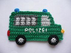 Gefängniswagen+-+Häkelapplikation+von+Spielkiste+auf+DaWanda.com Crochet Bib, Crochet Potholders, Crochet Bunny, Love Crochet, Crochet Motif, Crochet For Kids, Crochet Animals, Crochet Doilies, Crochet Flowers