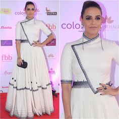 Neha Dupia in White Gown Mode Bollywood, Bollywood Fashion, Bollywood Style, Xhosa Attire, African Attire, Indian Celebrities, Bollywood Celebrities, Celebrity Look, Celebrity Dresses