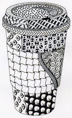 zen doodle coffee | This coffee set will have 4 designs.