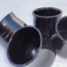 Pottery Wine Tumblers in Jet Black perfect by NancyBloklandPottery