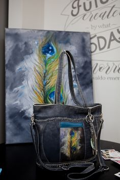 Handmade leather bag with an original artwork peacock feather Handmade Purses, Leather Bags Handmade, Peacock, Original Artwork, Feather, Tote Bag, Design, Handmade Bags, Peacock Bird