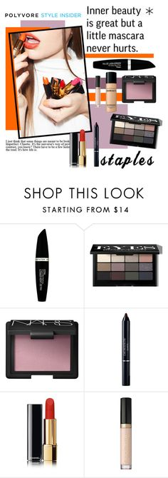 """""""Makeup Staples"""" by polybaby ❤ liked on Polyvore featuring beauty, Max Factor, Bobbi Brown Cosmetics, NARS Cosmetics, Christian Dior, Too Faced Cosmetics, Bare Escentuals, contestentry, PVStyleInsiderContest and makeupbagstaples"""