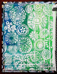 Tutorial by Baltzar Designs - Create patterns/draw and doodle on a sheet of styrofoam and use it as a stamp.