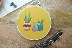 Cactus Hoop Art Cactus Art Succulent Art Cactus by TheWildnessCo