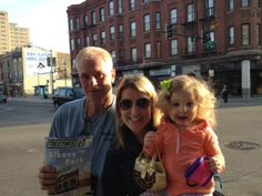 """Ariana Moulton sent this photo of her and her daughter with their """"favorite StreetWise vendor,"""" Jeff Berg. She wrote, """"He is always a friendly face and our daughter, Jackson, enjoys telling him about her day."""" Thank you, Ariana!"""