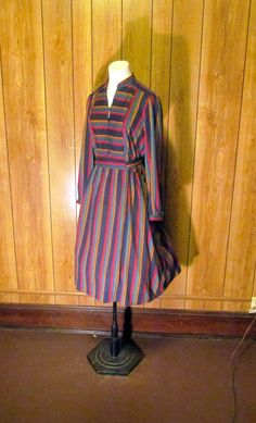 On Sale-Multi Colored STRIPED Winter DAY DRESS by BeauMondeVintage
