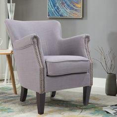Zenith-Monet Classic Nail Head Design Imitation Linen Fabric Accent Chair Single Sofa Armchair Club Chair x x Gray) Single Sofa, Best Sofa, Club Chairs, Wingback Chair, Monet, Accent Chairs, Plush, Relax, Classic