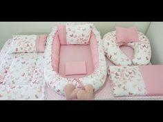 Babynest Seti Kelebekli - YouTube Baby Crib Diy, Baby Doll Bed, Baby Room Diy, Fun Diy Crafts, Baby Crafts, Baby Nest Pattern, Baby Dress Patterns, Baby Swings, Sewing Pillows