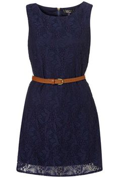 Navy lace with a belt.