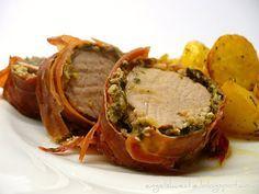Schweinefilet mit Pesto im Parmaschinkenmantel mit Rosmarinkartoffeln