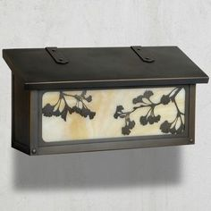 America's Finest Mailboxes Ginkgo Wall Mounted Mailbox Finish: Warm Brass, Glass Color: Gold Iridescent