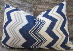 Designer Pillow Cover - Ikat Zig Zag - 12 x 18 Navy. $28.00, via Etsy.