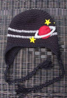 Crochet Planet & Stars Earflap Beanie Hat - Etsy $28.00