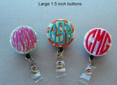 Personalized Monogrammed Embroidered Badge Reel / Name Badge Holder on Etsy, $9.00