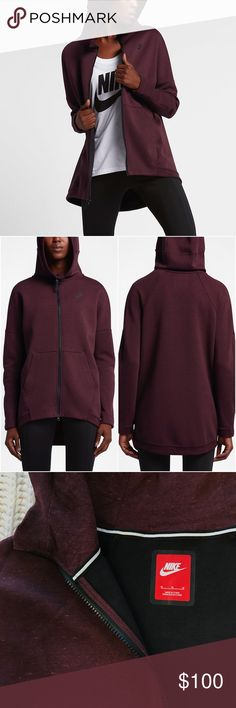 Nike Heathered Maroon Tech Fleece Cape Hoodie •Designed to envelop you in lightweight warmth, the Nike Tech Fleece Women's Cape is an essential layer for cool weather. Nike Tech Fleece is warm, soft and light. Oversized hood, dropped shoulders and longer back provide a relaxed fit.  67% cotton/33% polyester. Hood Lining: 100% cotton. Color is Night Maroon.  •Size Medium, for a slimmer fit please size down.  •New with tag.  •NO TRADES/HOLDS/PAYPAL/MERC/VINTED/NONSENSE. Nike Tops Sweatshirts…