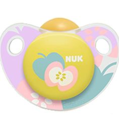 NUK Adore Baby Pacifier 0-6 Months Latex Apple Girl Pink Yellow Soother 4883-4 #NUK
