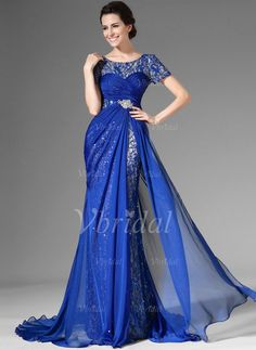 Evening Dresses - $200.28 - Trumpet/Mermaid Scoop Neck Sweep Train Chiffon Lace Evening Dress With Ruffle Beading Sequins (0175056206)