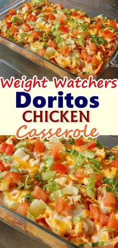 Dorito chicken casserole is a simple and flavorful meal with a crunchy cheese and Dorito chip topping and crust. This is a casserole the whole family will love! Don't forget to Pin this so it will be SAVED to your timeline! Weight Watchers Casserole, Weight Watchers Meal Plans, Weight Watcher Dinners, Weight Watchers Chicken, Meat Recipes, Cooking Recipes, Waffle Recipes, Quick Recipes, Snacks Recipes