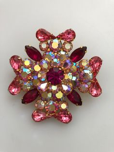 Vintage 1960/'s Austria Colorful Rhinestone Pin And Screw Back Earring Set