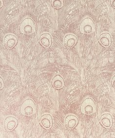 Hebe Wallpaper A striking wallpaper with a fine peacock feather design printed in crimson on a cream ground.