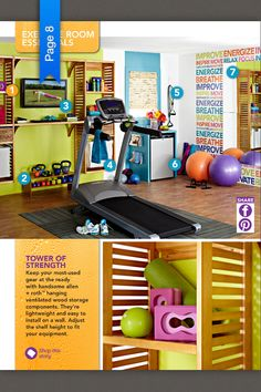 A bright, organized home gym. If you notice, not a lot of expense other than the treadmill. -- but I have a feeling my home gym will need to be more 'manly' for the hubby & two boys ; Basement Gym, Garage Gym, Home Gym Machine, Gym Machines, Gym Decor, Gym Room, Gym Design, Design Ideas, My Gym