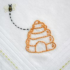 honey bee embroidery design | honey bee handkerchief by stitchado on Etsy  This would be a simple project for a girl entering beehives